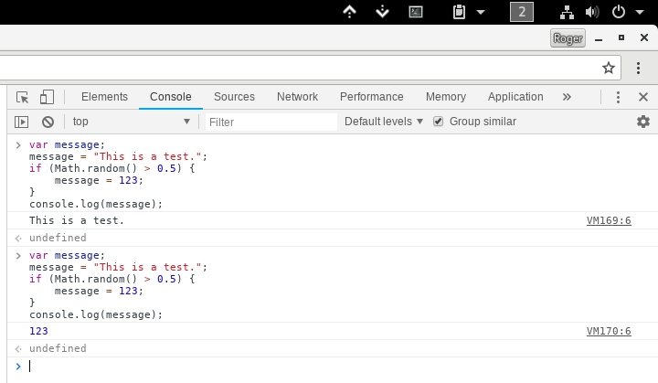 Chrome Console Example