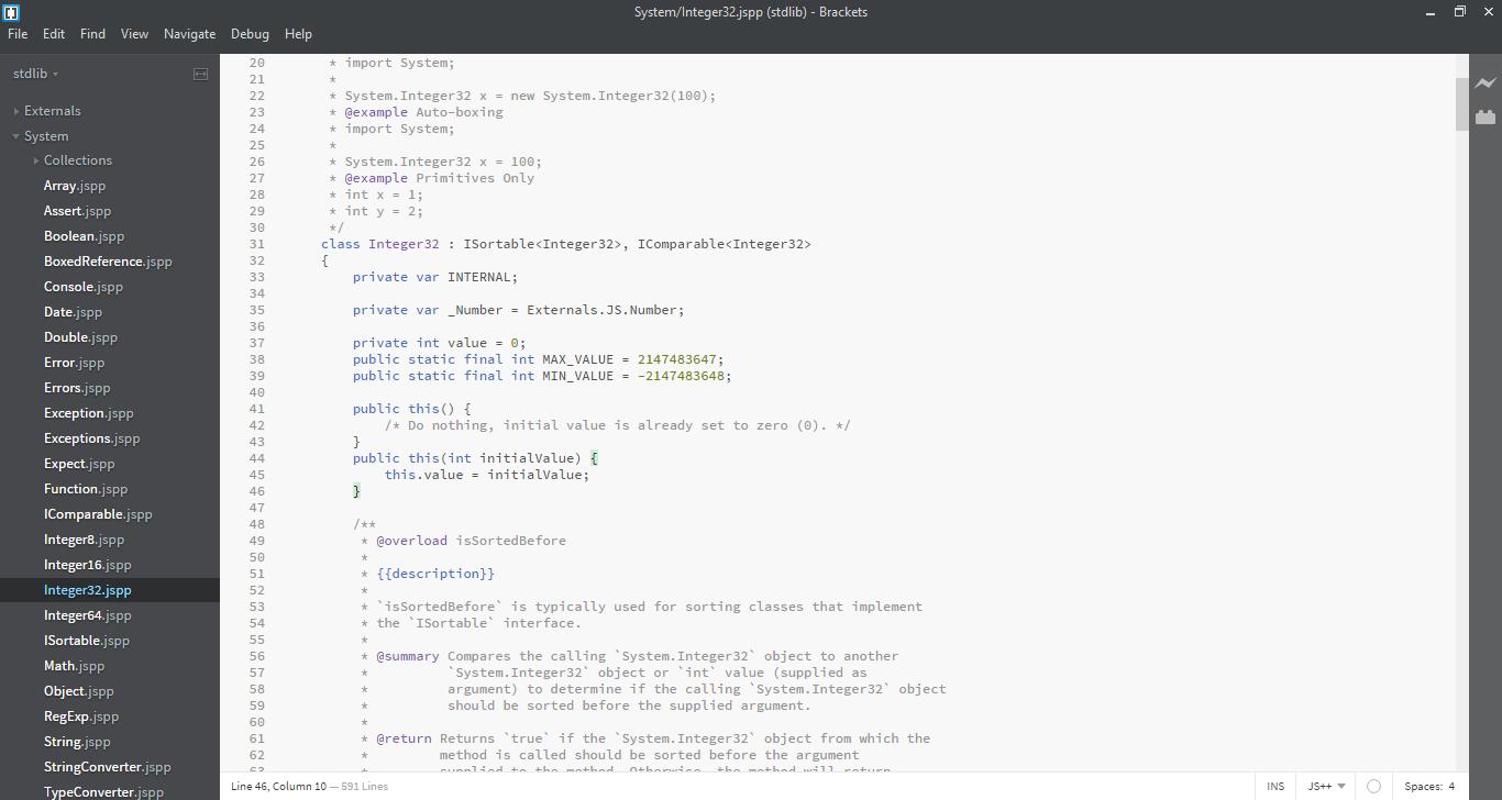 Adobe Brackets JS++ Plugin